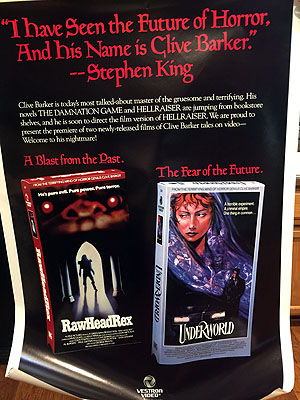 rawHeadRex / Underworld (video poster). Clive Barker.