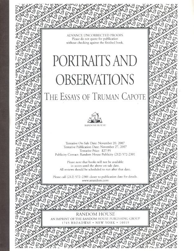 Portraits and Observations: The Essays of Truman Capote. Truman Capote.