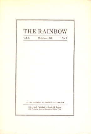 The Rainbow: Volume 1 Number 1 October 1921, Nietscheism (Nietzscheism) and Realism; Amateurdom...